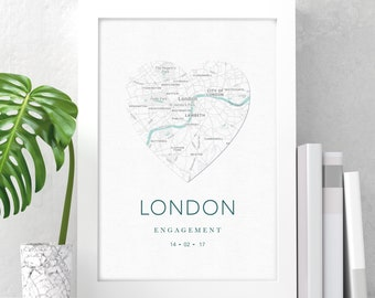 Personalised gift map print | wedding gift | anniversary gift | couples gift print | where we met | any city, date, text  and colours