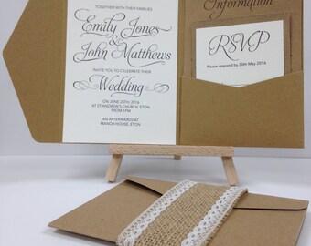 Kraft elegant swirl & burlap lace pocket fold wedding invitation pack
