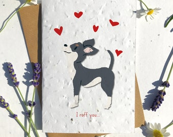 1 x Eco-Friendly Biodegradable Seed Paper plantable Valentine's and Anniversary Card adorable cute light black chihuahua dog