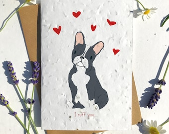 1 x Eco-Friendly Biodegradable Seed Paper plantable Valentine's and Anniversary Card adorable cute black french bulldog