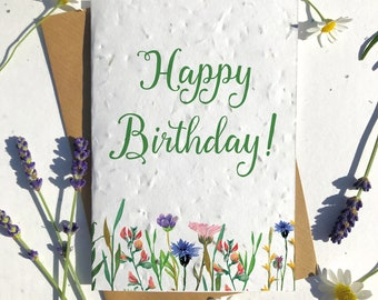 1 x Eco-Friendly Biodegradable Seed Paper plantable birthday card Happy Birthday wildflowers