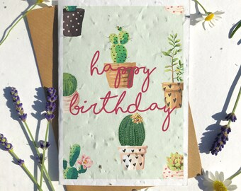1 x Eco-Friendly Biodegradable Seed Paper plantable birthday card cactus plant succulent lovers