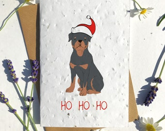 Biodegradable seed paper Christmas festive season greetings card traditional rottweiler brown