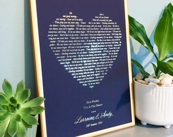 Personalised foil printed song lyrics or poem print wedding | anniversary gift print in copper, gold or silver, any city or town and text
