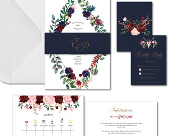 Floral boho timeline wedding invitation package with envelopes available in any colours