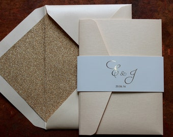 Coral pearlescent gold foil pocketfold wedding invitations with glitter lined coral pearlescent envelopes