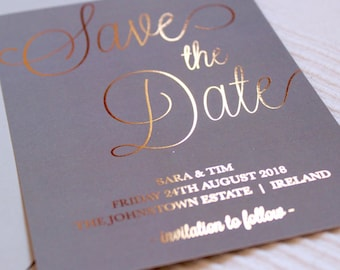 Luxury copper foil on grey silk wedding save the date cards with light grey envelopes