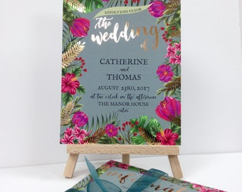 Luxury rose gold foil tropical floral wedding invitations