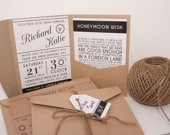 Modern typography pocket fold wedding invitation pack
