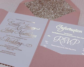 Blush pink and gold foil pocketfold wedding invitations with blush envelopes and gold glitter lining