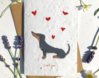 1 x Eco-Friendly Biodegradable Seed Paper plantable Valentine's and Anniversary Card Cute black and brown dachshund