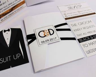 Elegant black velvet and copper foil modern wedding invitation pocket