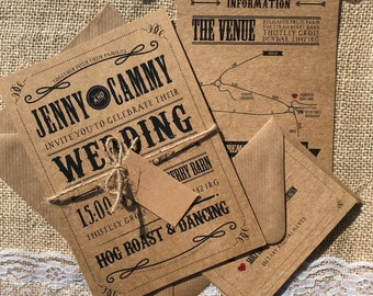Rustic barn textured recycled kraft wedding invitations with envelopes