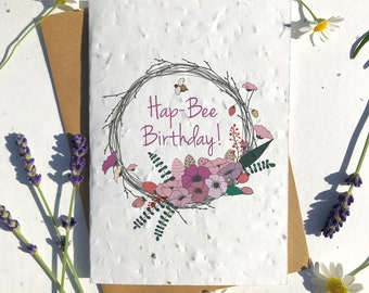 1 x Eco-Friendly Biodegradable Seed Paper plantable birthday card floral branch wreath