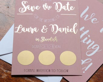 Blush pink and gold foil save the date scratch card including envelopes available in other colours!