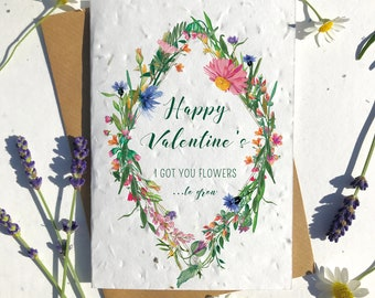 1 x Eco-Friendly Biodegradable Seed Paper plantable Valentine's and Anniversary Card Cute flowers garden lover