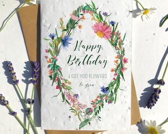 1 x Eco-Friendly Biodegradable Seed Paper plantable birthday card wildflowers funny
