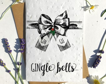 Biodegradable seed paper Christmas festive season greetings card traditional gin lovers gin gle bells
