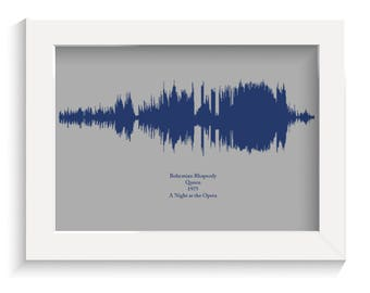 Print your own personalised favourite song print gift sound waves any colour scheme digital file