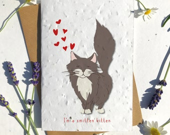 1 x Eco-Friendly Biodegradable Seed Paper plantable Valentine's and Anniversary Card adorable cute brown ragdol cat