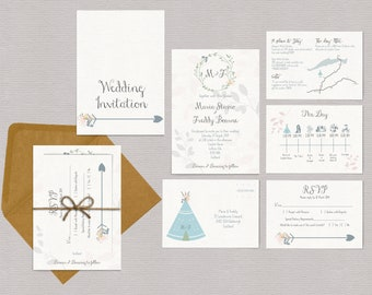 Boho teepee map floral wedding invitation package