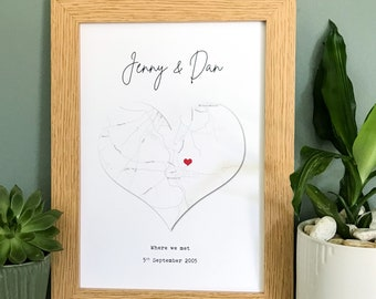 Personalised engagement gift map print | wedding gift | anniversary gift | couples gift print | where we met