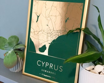 Personalised foil printed city map | any city | gift print in copper, gold or silver, any city, town or location | ideal new home gift