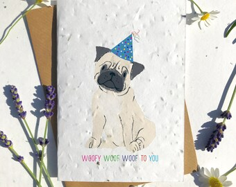 1 x Eco-Friendly Biodegradable Seed Paper plantable birthday card cute tan pug
