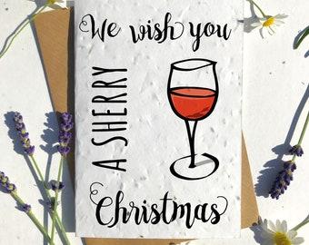 Biodegradable seed paper Christmas festive season greetings card traditional sherry