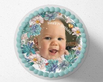 Personalised round or square printed icing cake or cupcake toppers fairytale photo sparkles birthday cake any text and colours