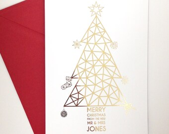 Pack of 4 Personalised white and gold foil christmas cards