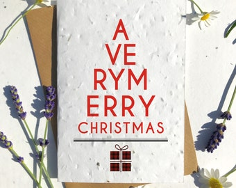 Biodegradable seed paper Christmas festive season greetings card traditional very merry Scottish