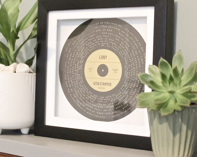 Featured listing image: Personalised gold, silver or copper foil printed favourite song lyrics record print gift, any song, any colour scheme