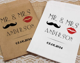 Personalised Wedding Sweet Bags LIPS MOUSTACHE Candy Cart Wedding Favours Confetti Engagement