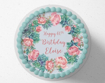Personalised round or square printed icing cake or cupcake toppers Rose Succulent birthday cake any text and colours