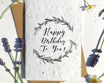 1 x Eco-Friendly Biodegradable Seed Paper plantable birthday card happy birthday wreath birds