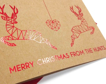 Pack of 4 Personalised kraft and red foil couple reindeer Christmas cards