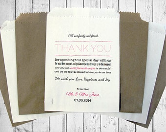 Personalised Wedding Sweet Bags THANK YOU NOTE Candy Cart Wedding Favours Confetti Engagement