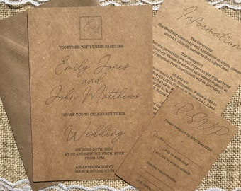 Elegant script textured recycled kraft wedding invitations with envelopes