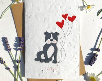 1 x Eco-Friendly Biodegradable Seed Paper plantable Valentine's and Anniversary Card adorable cute black staff dog puppy