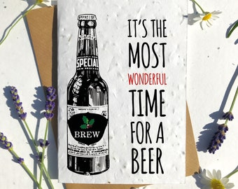 Biodegradable seed paper Christmas festive season greetings card traditional beer lover