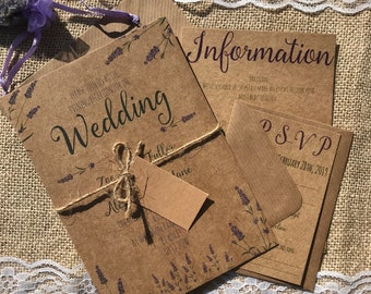 Lavender garden textured recycled kraft wedding invitations with envelopes