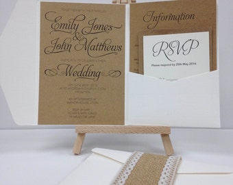Textured kraft and laid burlap and lace pocket fold wedding invitation pack