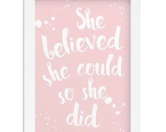 She believed she could wall art inspirational gift quote woman