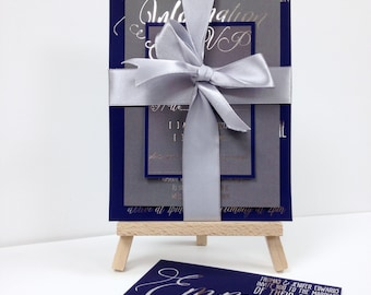 Luxury silver foil and navy blue wedding invitations