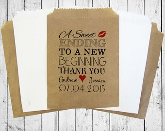 Personalised Sweet Bags A SWEET ENDING wedding, candy bags, lolly bags, popcorn bags, other bag colours available!