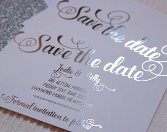 Luxury Silver foil on silk white wedding save the date or evening cards with glitter lined white envelopes