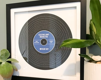 Personalised favourite song lyrics record print gift, any song, any colour scheme