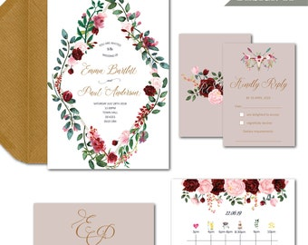 Boho floral timeline blush ruby wedding invitation package with invite info RSVP and envelopes