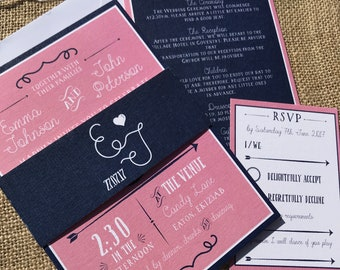 Blush pink and Navy blue ornate festival wedding invitation package